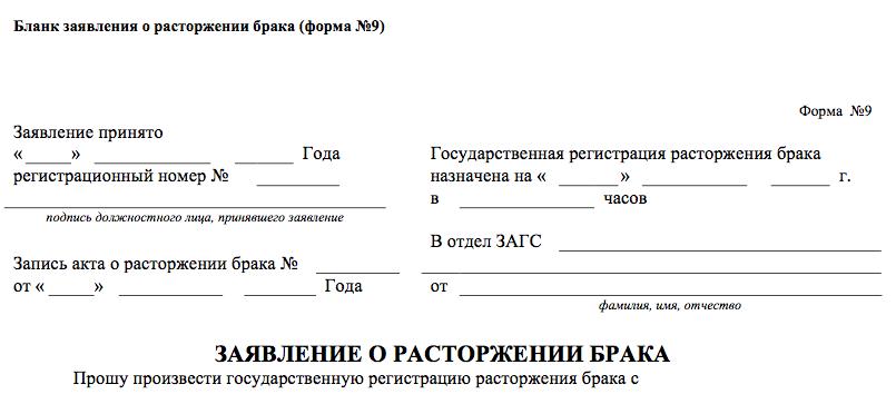 Пакет документов на развод